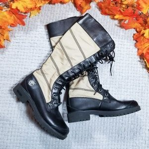 Timberland black leather and tan lace up boots